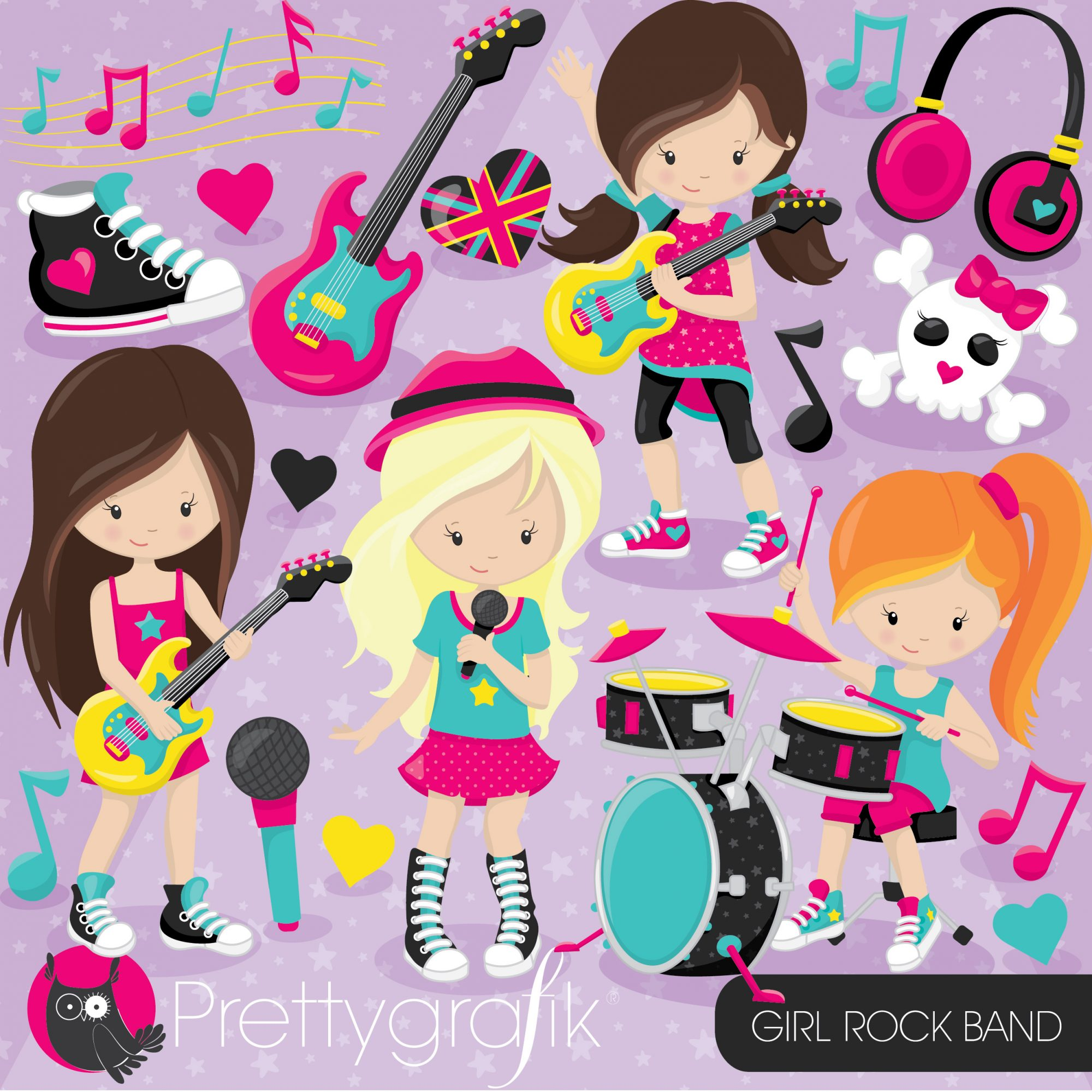Rockband clipart picture black and white Girl rock band clipart picture black and white