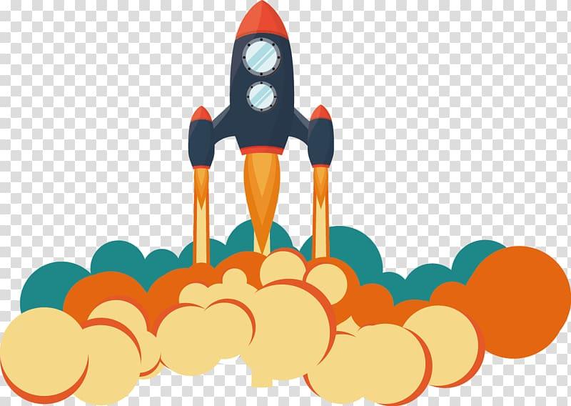 Rocket launch cartoon clipart png transparent Black and orange rocket illustration, Rocket launch Flight ... png transparent