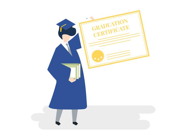 Rolled up diploma with figure sitting on it clipart vector black and white Character of a graduate holding a graduation certificate ... vector black and white