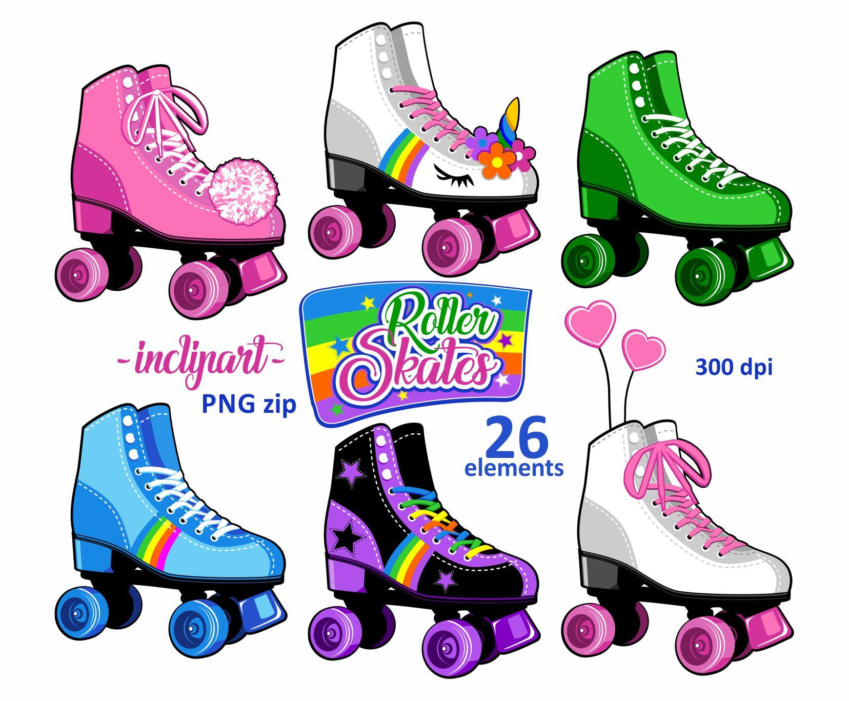 Skate night clipart graphic stock Roller skates clipart. Party clipart. Colorful Roller skate ... graphic stock