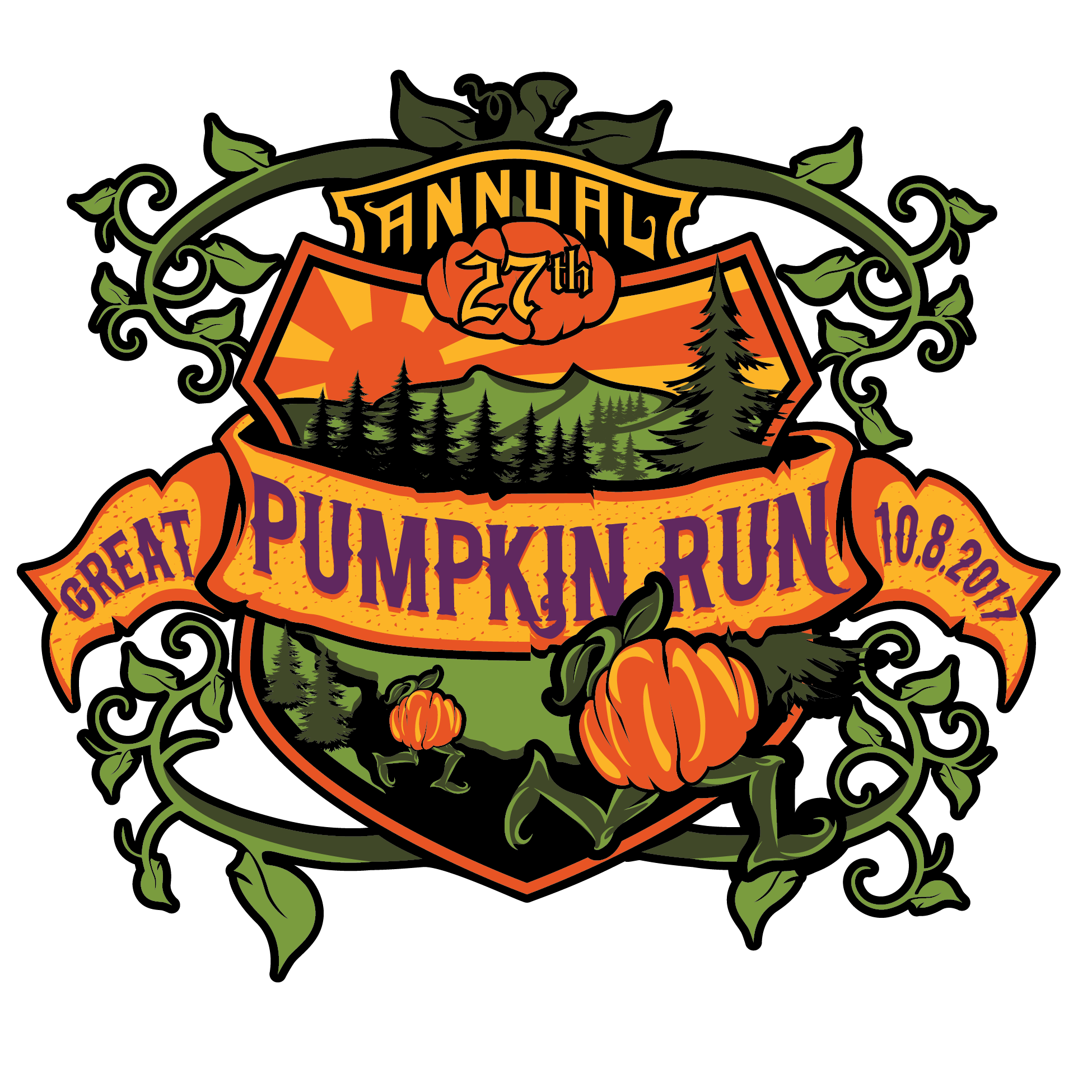 Roller skating pumpkin clipart vector freeuse library 2017 | The Great Pumpkin Run 2017 — Race Roster vector freeuse library