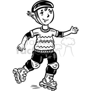 Rollerblading clipart clip black and white stock teen boy rollerblading clipart. Royalty-free clipart # 381514 clip black and white stock