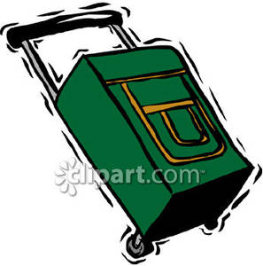 Rolling suitcase clipart vector freeuse download A Green Rolling Suitcase - Royalty Free Clipart Picture vector freeuse download