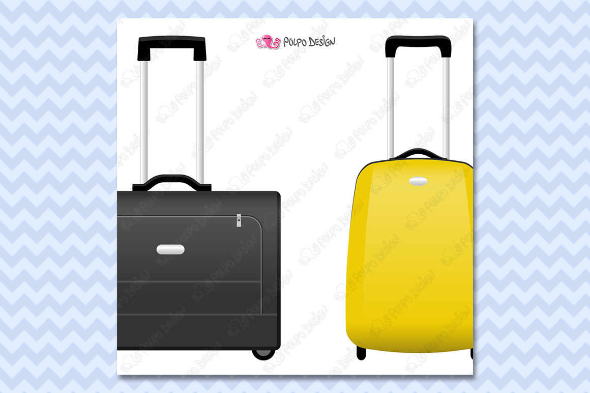 Rolling suitcase clipart clipart download Rolling Suitcases clipart By Polpo Design | TheHungryJPEG.com clipart download