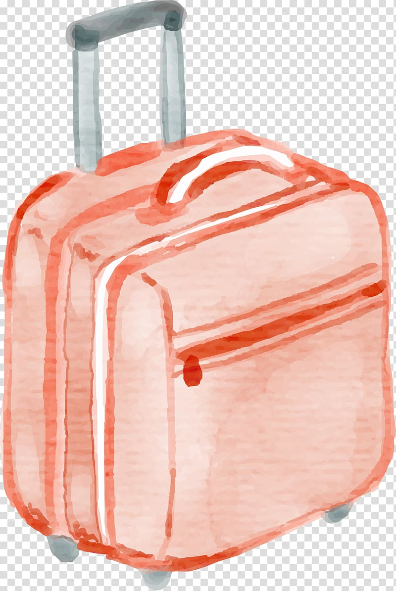 Rolling suitcase clipart banner royalty free stock Orange rolling luggage illustration, Suitcase Watercolor ... banner royalty free stock
