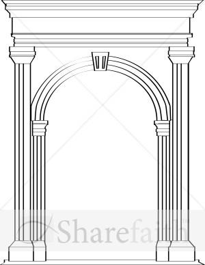 Roman arch clipart black and white free clip black and white stock Stone Arch in Roman Architecture | Church Clipart clip black and white stock
