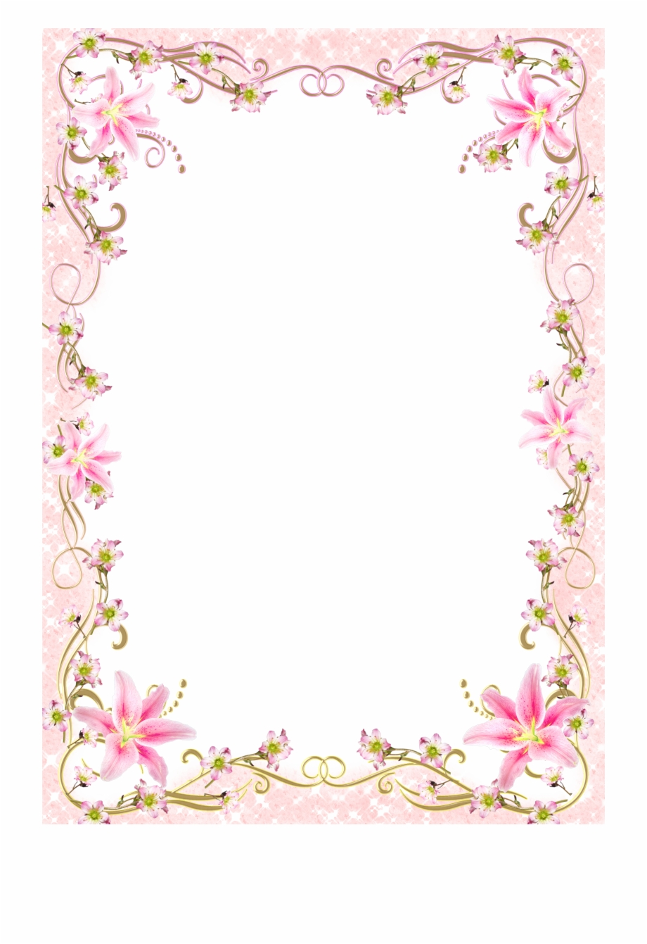 Romantic clipart borders graphic royalty free download Pink Picture Romantic Frame Template Floral Line Clipart ... graphic royalty free download