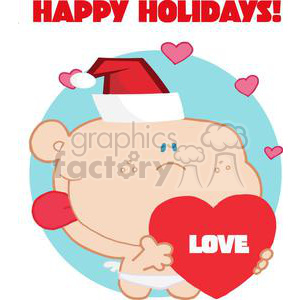 Romantic clipart text svg freeuse download Romantic Cupid with Heart and Text Happy Holidays! clipart. Royalty-free  clipart # 378406 svg freeuse download