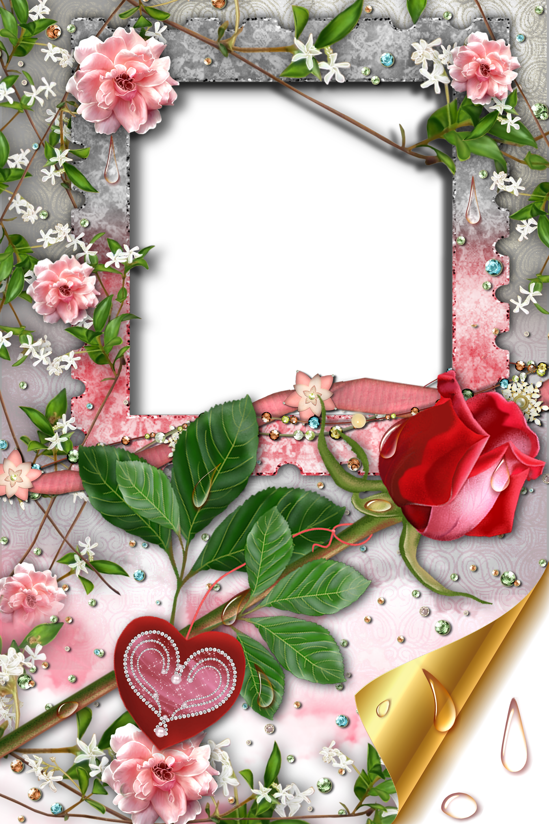 Transparent Romantic Frame with Rose and Heart | Gallery ... image free download