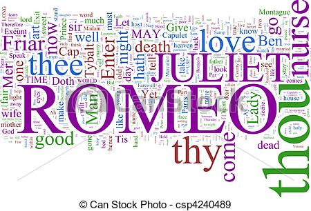 Romeo and juliet clip art graphic freeuse library Stock Photographs of Word cloud - Romeo and Juliet - A word cloud ... graphic freeuse library