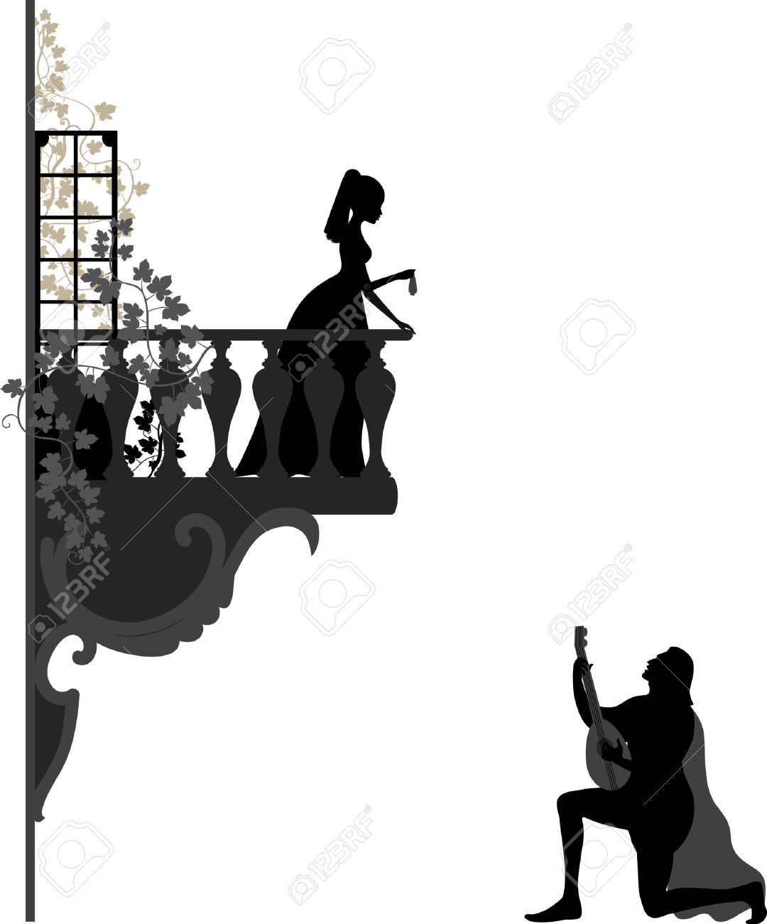 Romeo and juliet clipart svg black and white Romeo and juliet balcony scene clipart - ClipartFest svg black and white