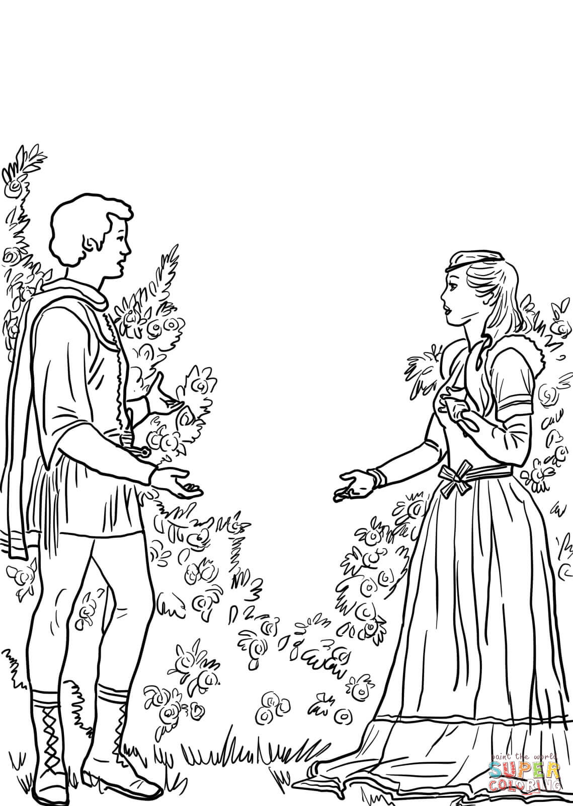 Romeo und julia clipart picture library download Romeo and Juliet in the Garden coloring page | Free Printable ... picture library download