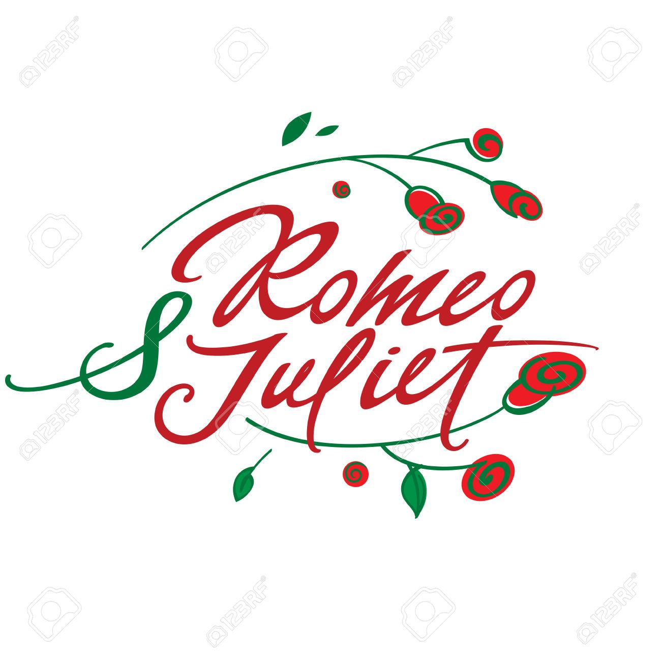 Romeo und julia clipart transparent stock Romeo Und Julia - Vektor Inschrift Mit Rosen Lizenzfrei Nutzbare ... transparent stock