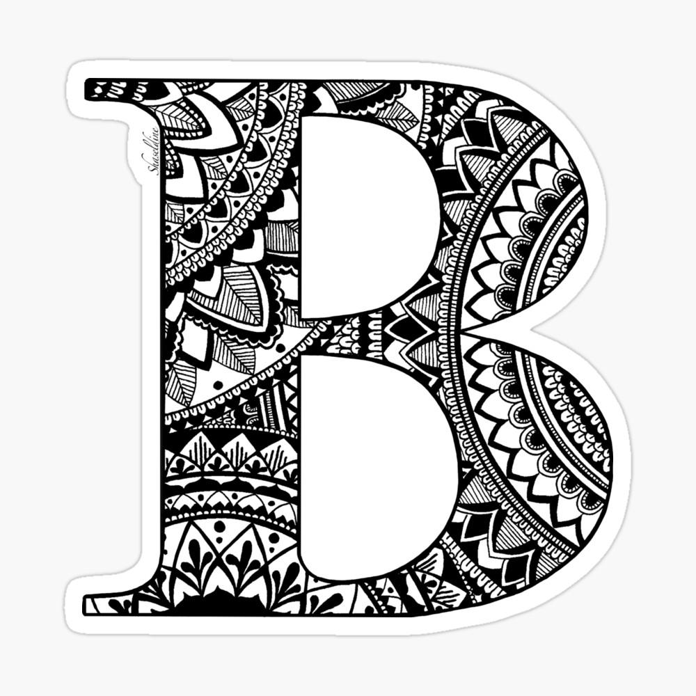 Ron letters stickers clipart clip download Mandala Letter B\