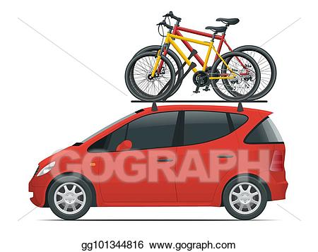 Roof rack clipart jpg transparent EPS Vector - Side view flat mini car with two bicycles ... jpg transparent