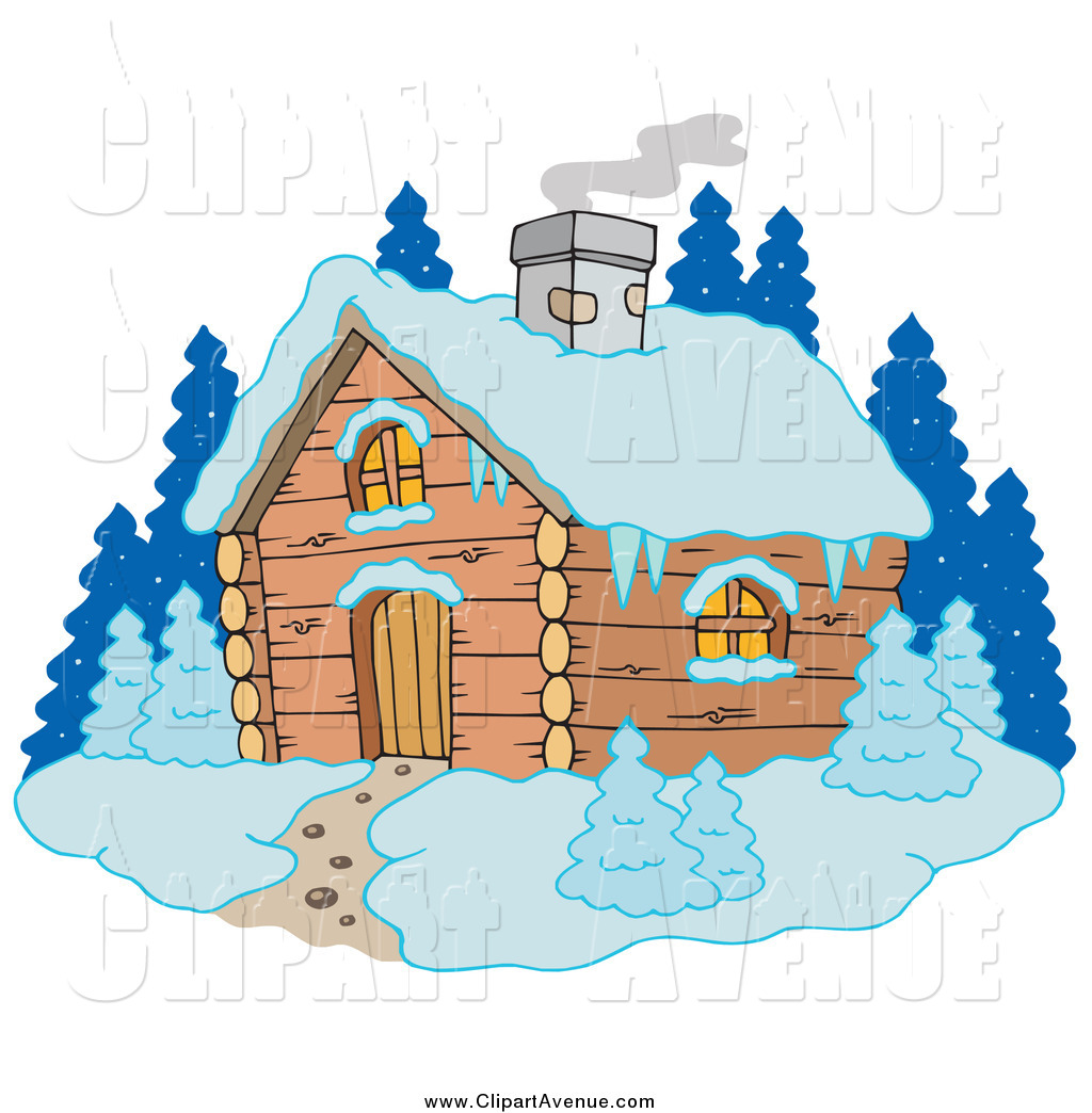 Snow cabin clipart picture black and white stock Avenue Clipart of Smoke Rising from a Winter Cabin in the ... picture black and white stock