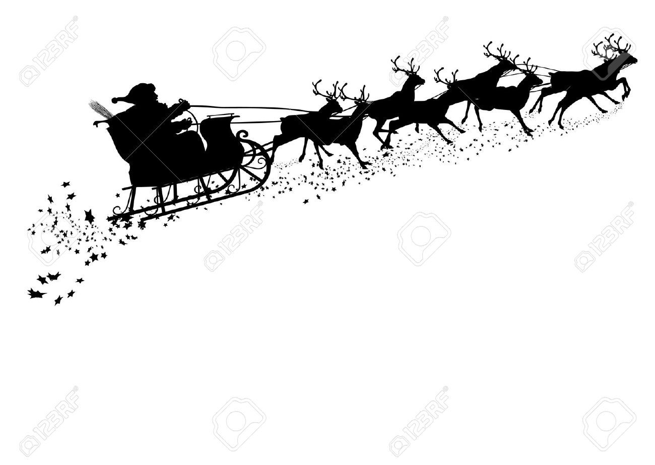 Rooftop with santa and sleigh clipart free image freeuse Stock Vector | Cricut | Santa sleigh silhouette, Reindeer ... image freeuse
