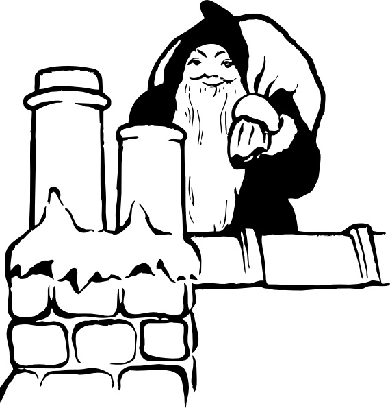 Rooftop with santa and sleigh clipart free image black and white Santa On The Rooftop clip art Free vector in Open office ... image black and white