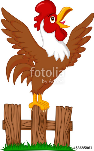 Rooster crowing clipart clip transparent download Cute rooster crowing on the fence\