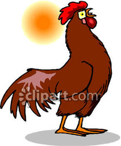 Rooster crowing clipart svg black and white download A Brown Rooster Crowing At the Sun - Royalty Free Clipart ... svg black and white download
