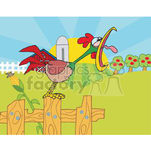 Rooster crowing clipart banner black and white download Country Farm Scene with Rooster crowing of the rising sun clipart.  Royalty-free clipart # 379435 banner black and white download