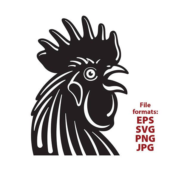 Rooster head clipart banner black and white Rooster chicken rooster head clipart black and white | SVG ... banner black and white