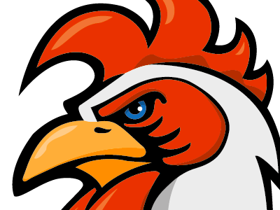 Rooster mascot clipart banner black and white library Rooster Mascot by Rob Zylstra on Dribbble banner black and white library