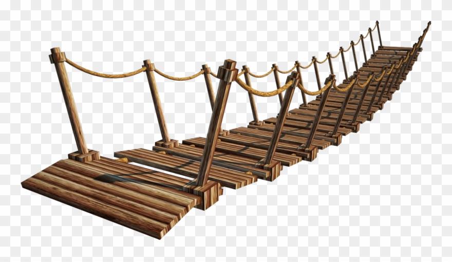 Rope bridge clipart clipart black and white stock Wooden Bridge Png Image - Wood Bridge Png Clipart (#1655337 ... clipart black and white stock