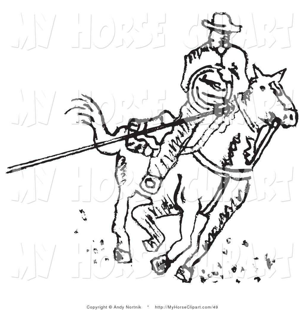 Roper black white clipart clipart free stock Clip Art of a Roper Cowboy on a Horse, Using a Lasso to ... clipart free stock