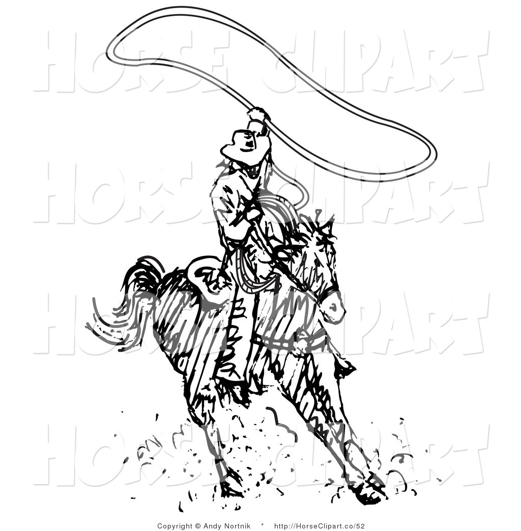 Roper black white clipart clipart library stock Clip Art of a Roper Cowboy on a Horse, Twirling a Lasso ... clipart library stock