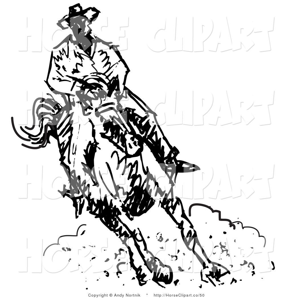 Roper black white clipart jpg black and white stock Clip Art of a Roper Cowboy on a Horse, Kicking up Clouds of ... jpg black and white stock