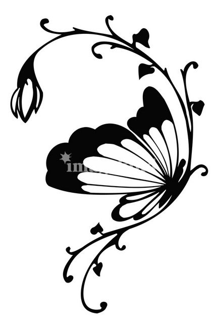 Rose and butterfly clipart black and white png library library Butterfly Art \