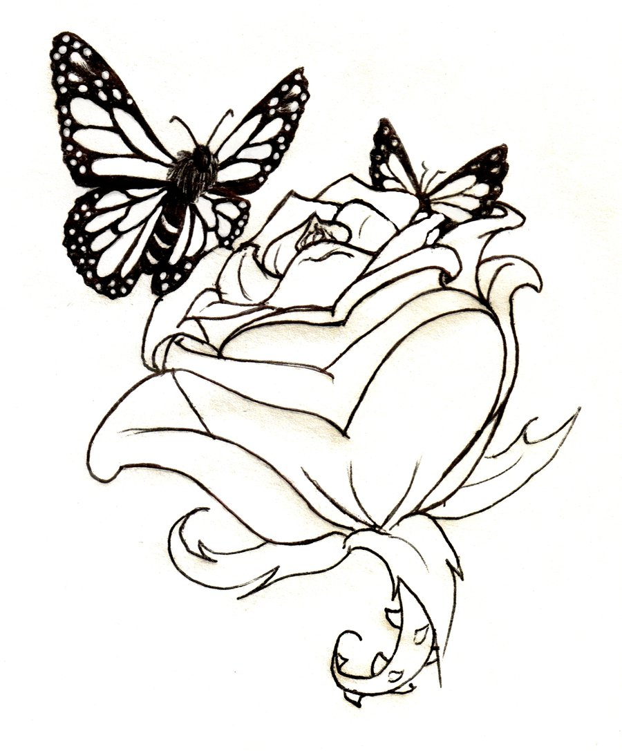Rose and butterfly clipart black and white clip transparent stock Butterfly Roses | Tattoo Lineart: Rose And #139927 ... clip transparent stock