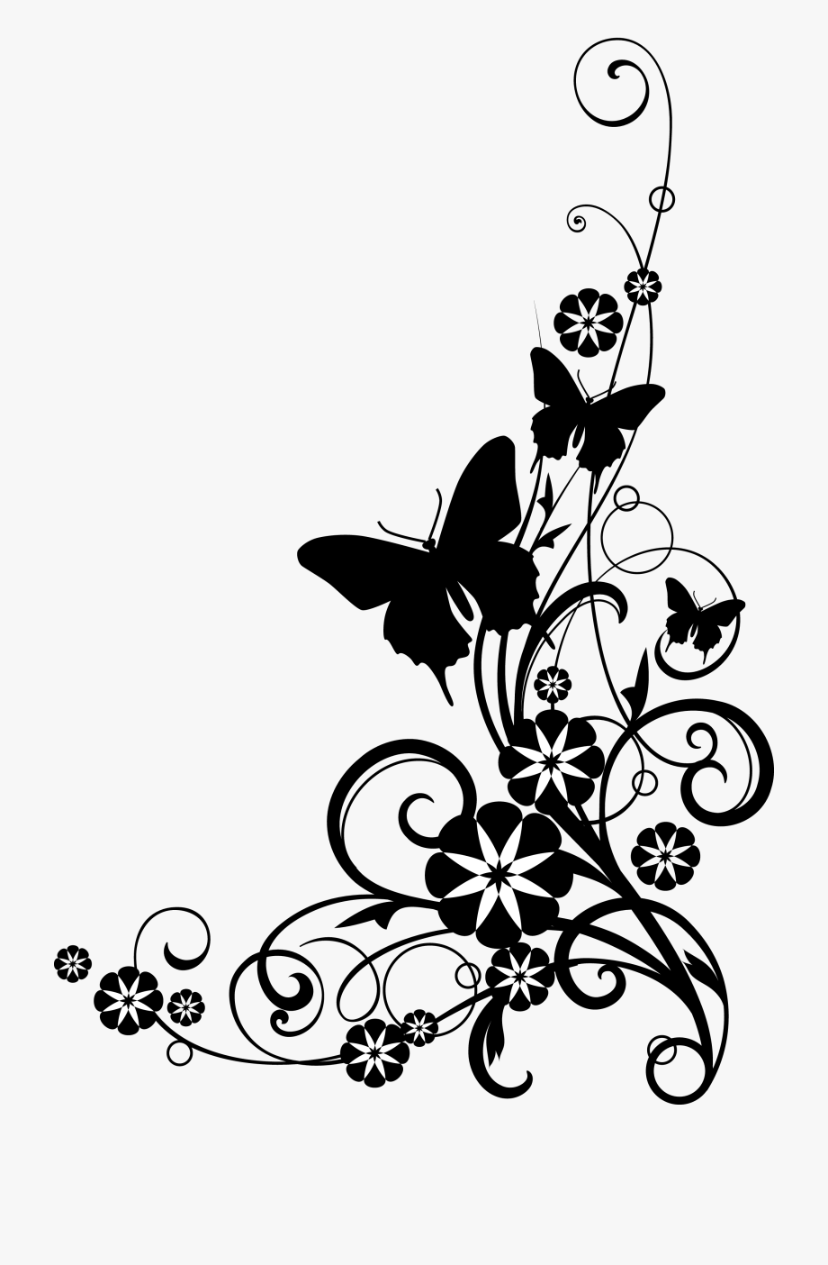 Rose and butterfly clipart black and white library Rose Black And White Black And White Rose Clipart - Flowers ... library