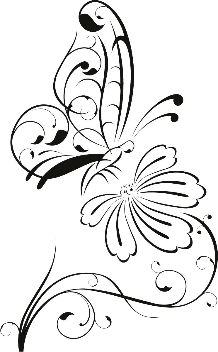 Rose and butterfly clipart black and white vector free download Butterfly Clipart Outline | Free download best Butterfly ... vector free download