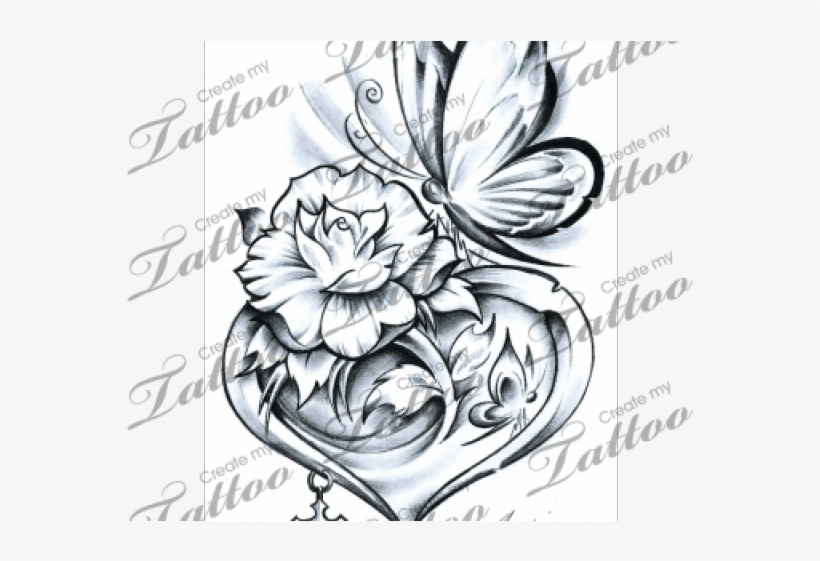 Rose and butterfly clipart black and white png free library Rose Tattoo Clipart Butterfly - Hearts And Butterflies ... png free library