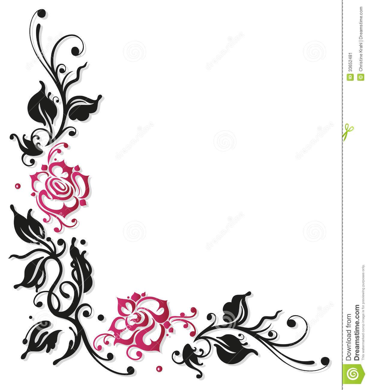 Rose border clipart black and white jpg black and white stock Rose Border Clipart | Free download best Rose Border Clipart ... jpg black and white stock