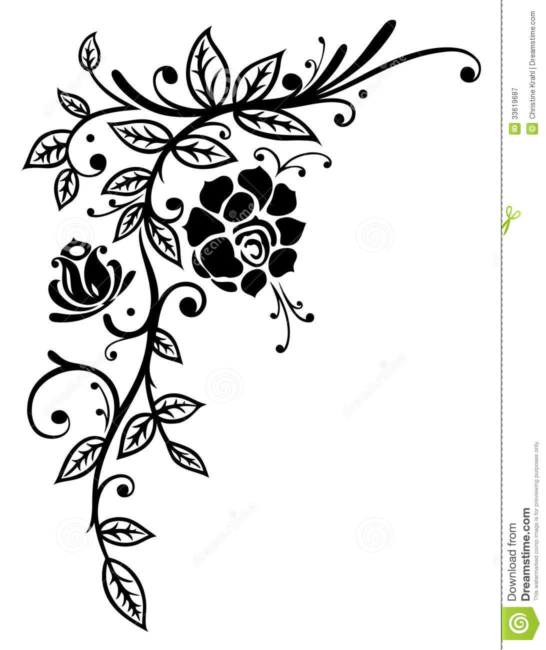 Rose border clipart black and white