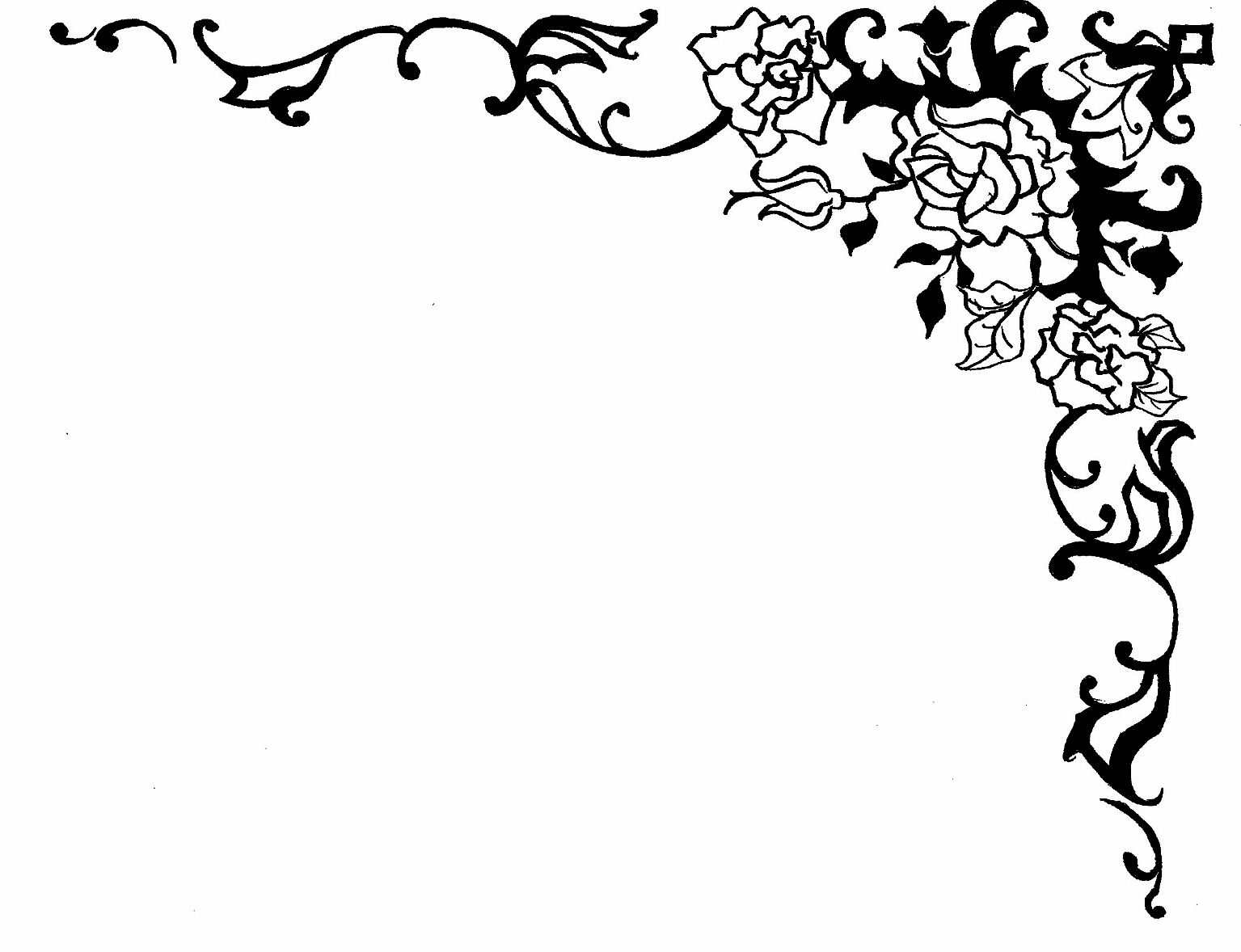 Rose border clipart black and white clipart royalty free library Rose Border Design | Clipart Panda - Free Clipart Images ... clipart royalty free library