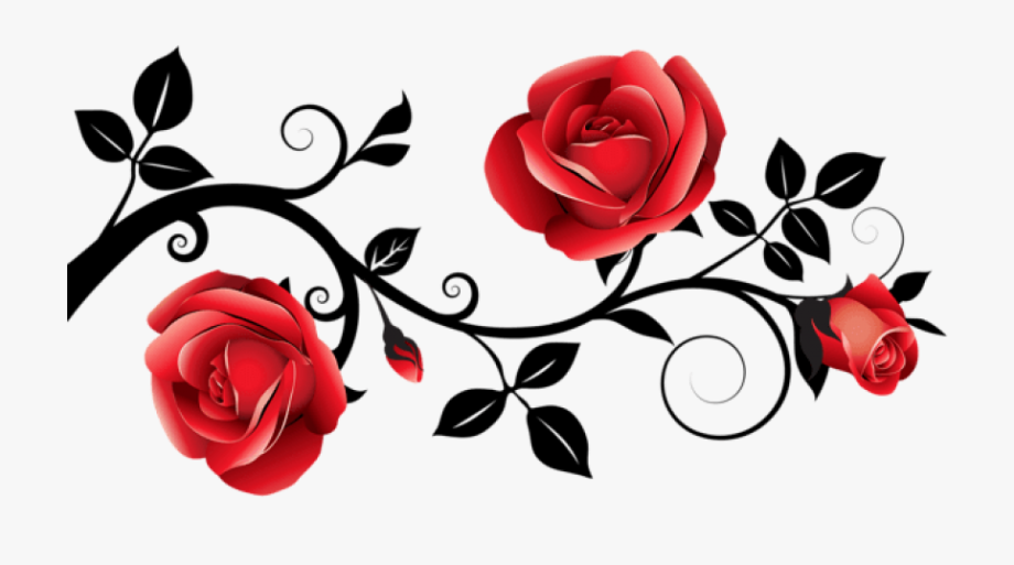 Rose clipart no background svg black and white download Rose Clipart Transparent Background - Red Rose Vine Png ... svg black and white download