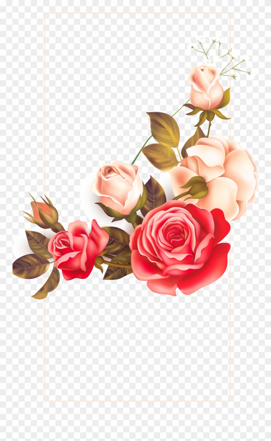 Rose floral border clipart png free library Background Floral Vintage Clipart Images Gallery For - Rose ... png free library
