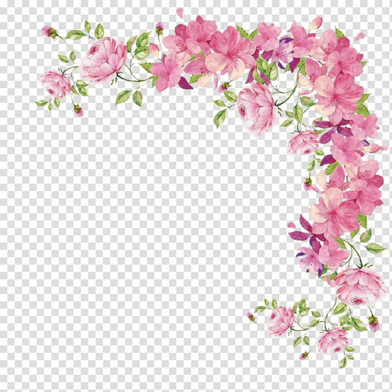 Rose floral border clipart clip library library Pink flowers Rose, flower border, pink and green petaled ... clip library library