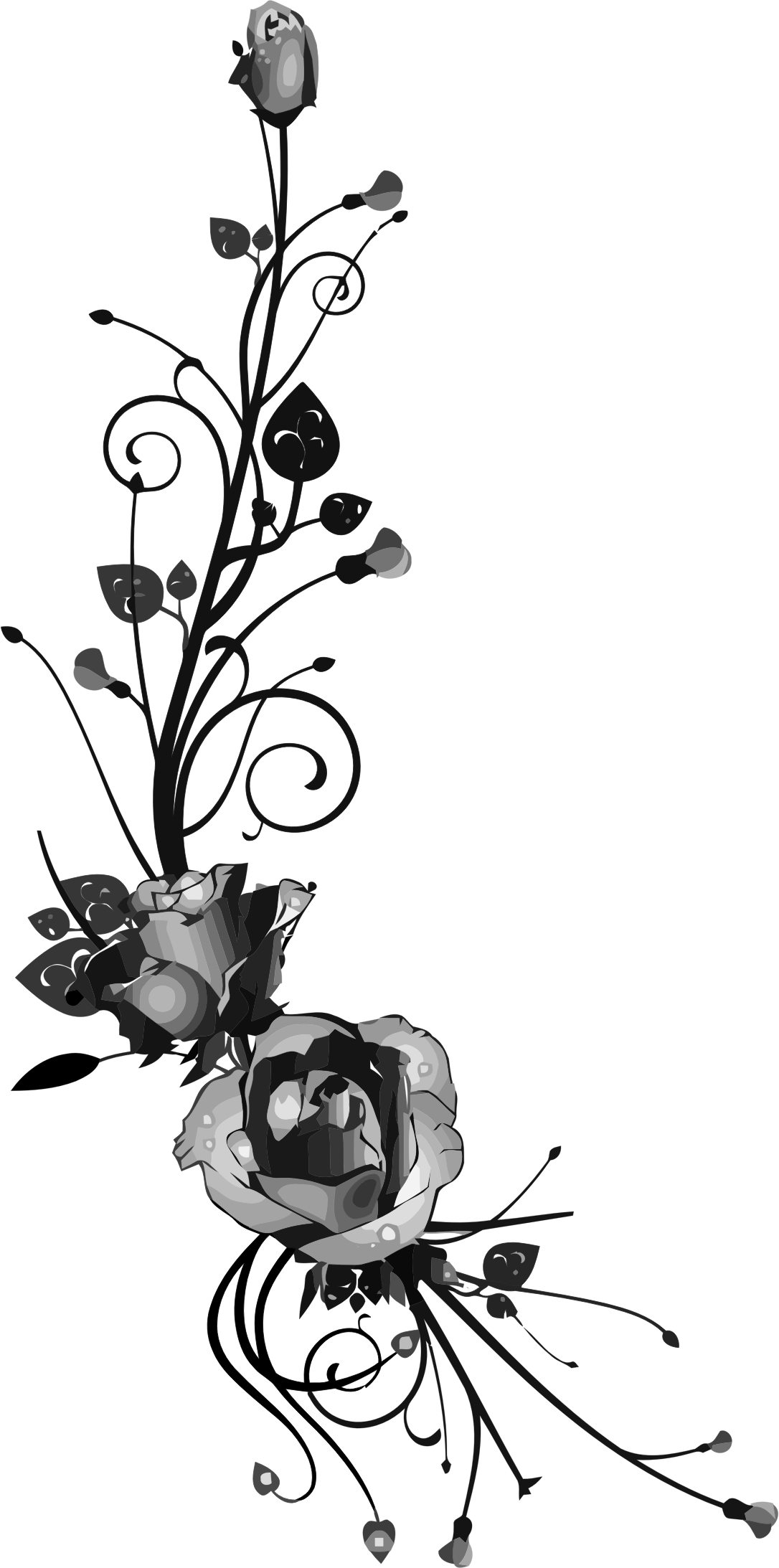 Rose flower clipart black and white png freeuse download Clipart - Rose Floral Flourish 15 png freeuse download