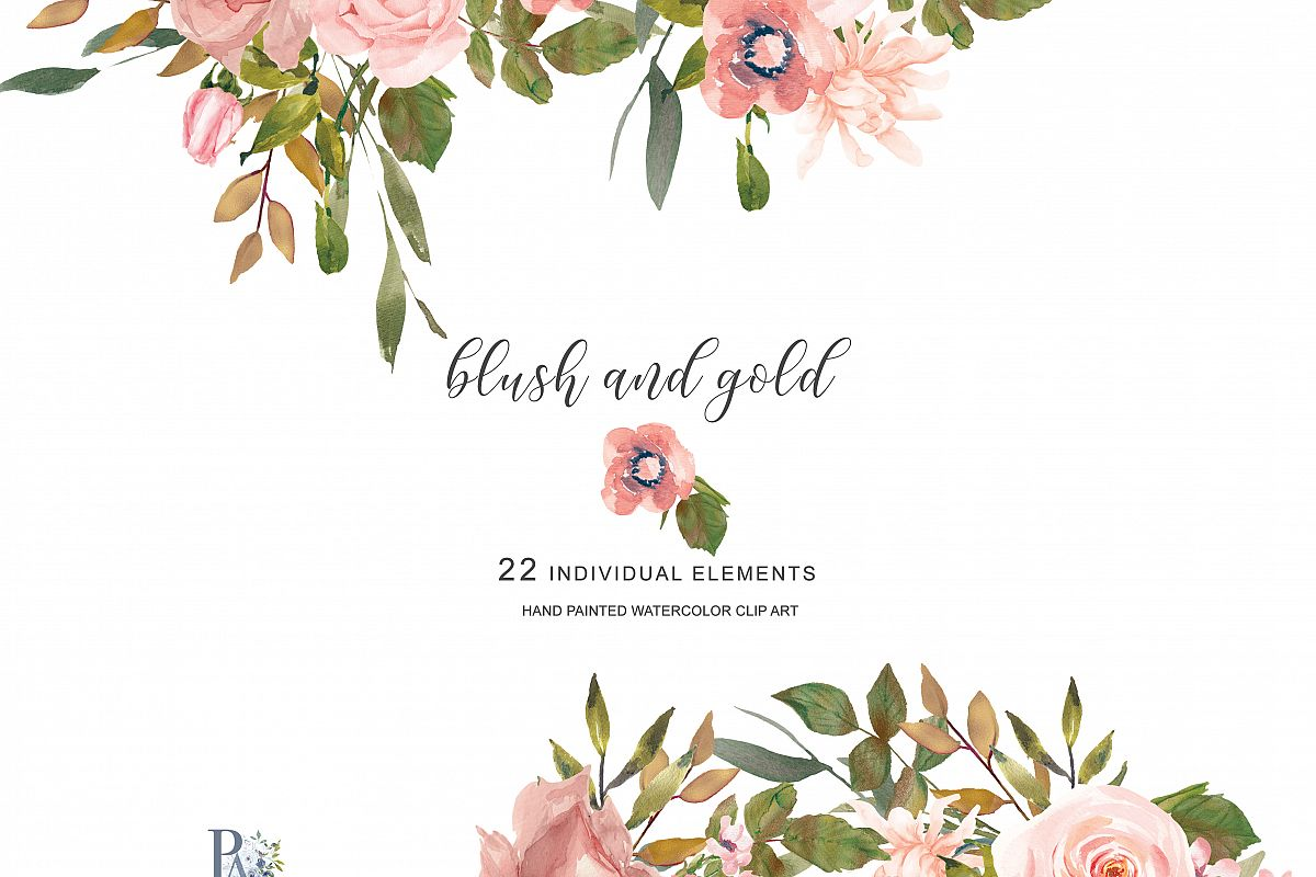 Rose gold clipart flower image free library Watercolor Flower Clipart Separate Elements image free library