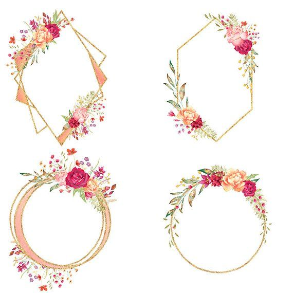 Rose gold clipart flower clip royalty free stock Geometric floral frames, rose gold frame clipart, gold ... clip royalty free stock