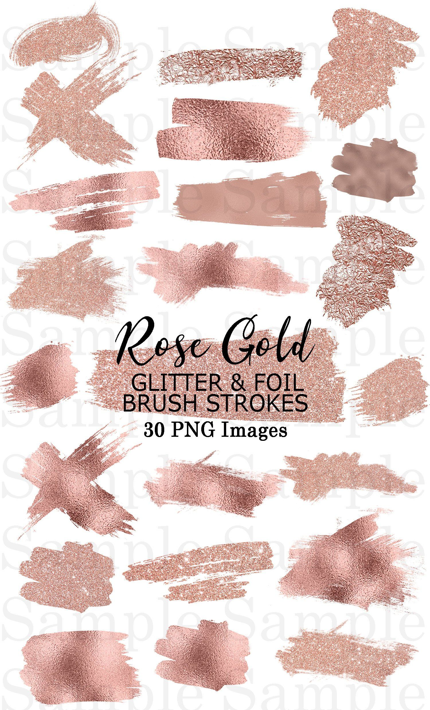 Rose gold foil clipart picture black and white Rose Gold Foil and Glitter Brush Strokes Clip Art #40 Hand ... picture black and white