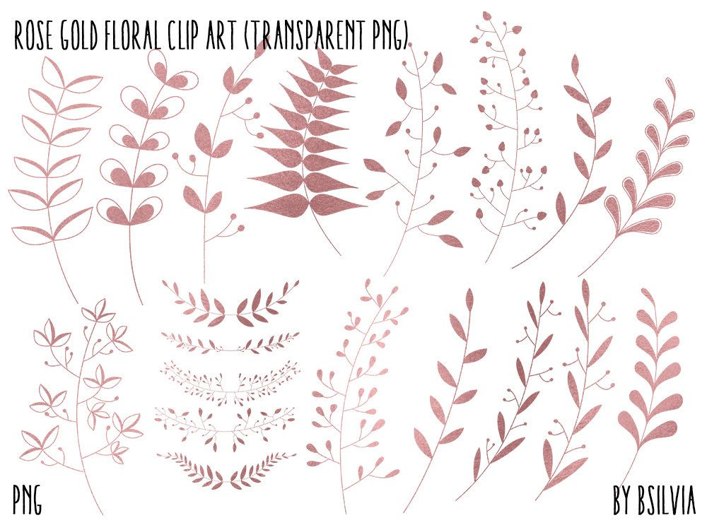 Rose gold foil clipart banner Rose Gold Floral Clip Art, Rose Gold Foil Leaves Clipart ... banner