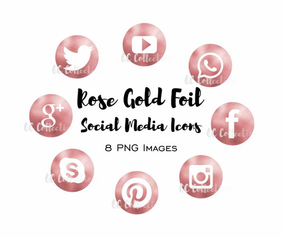 Rose gold social media icons clipart svg free Social Media Icons Icon Set Rose Gold Foil Clipart PNG Files ... svg free