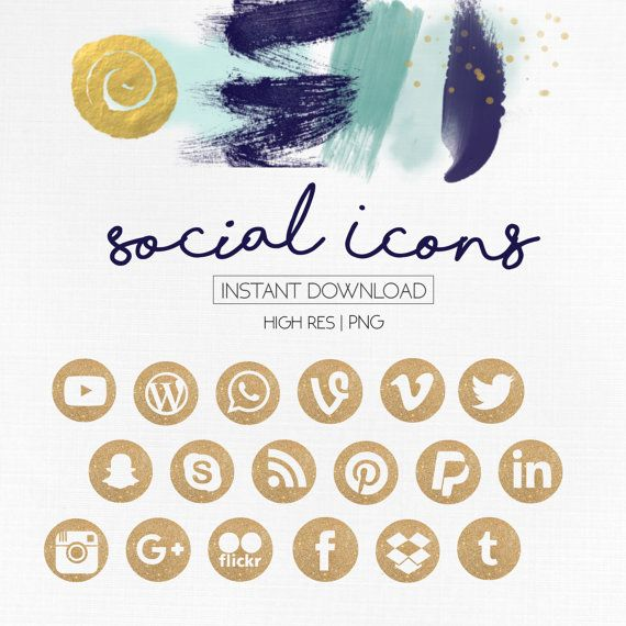 Rose gold social media icons clipart picture royalty free library Social Media Icons | Watercolor Rose Gold Foil Design ... picture royalty free library