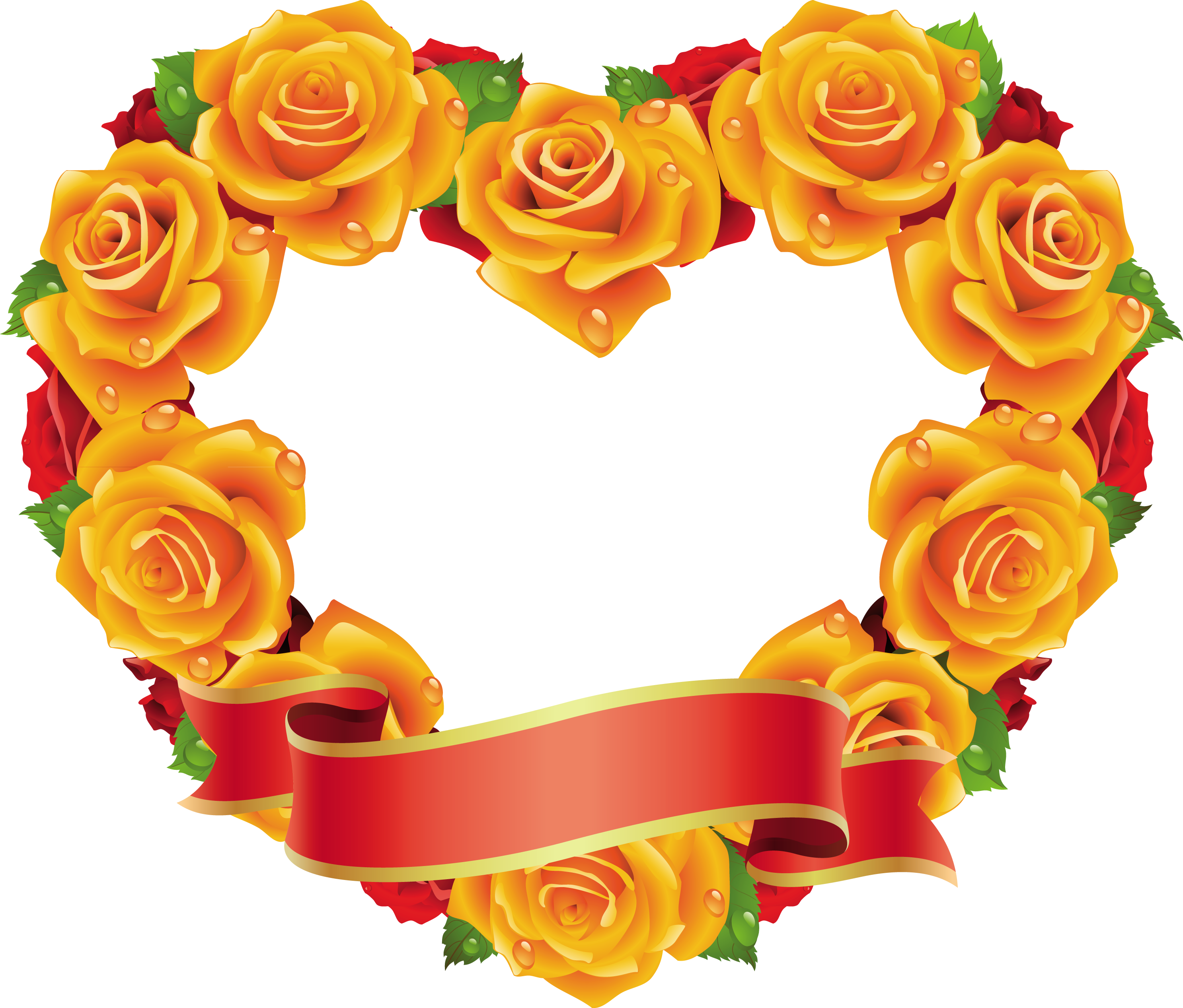 Yellow and Red Roses Heart Transparent Frame | Gallery Yopriceville ... clipart library library
